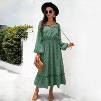 Casual Dresses Bohemian Long Women Fall 2021 Floral Print Lantern Sleeve High Waist Swing Pleated Boho Party Maxi Dress Vestidos
