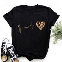 Zogankin Bayan Siyah T-Shirt Yaz Yeni Moda Leopar Kalp Atışı Kısa Kollu Baskı Giysi Bayanlar Grafik Tops Kadın87bb