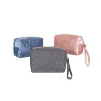 Lovely velvet star makeup cosmetic bag zipper women washbag organizer storage travel bags for toiletries