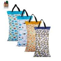 Elinfant 1 pcs grande pendurado saco de balde molhado / seco para tecido de pano, inserções, fralda, lavanderia com dois saco de fralda impermeável com zíper À prova d'água 2429 Q2
