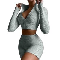 S-XL Frauen Texturierte Yoga Set geschnittener Reißverschluss Top-Reißverschluss Hoodie Jacke Mantel und Shorts Biker Sporthosen 2PC Anti Cellulite Gym Fitness Sportanzug Outfits Kleidung G70S61A