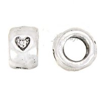 Wholesales Beads Charms For DIY Bangles Necklace Thailand Silver Round Heart Love Loose Big Hole Alloy Jewelry Findings 8*6mm 200pcs