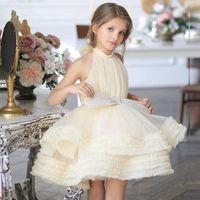 Girl's Dresses Yellow Ivory Puffy Baby Girl Bow High Collar First Communion Kids Dress Knee Length Flower Weddding