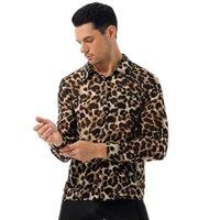 T-shirt da uomo Uomo Fashion See-through Leopard Pulsante Stampa Leopardo Colletto di Turn-Down Manica lunga Casual Top Nightclub Costume Sissy Clubwear