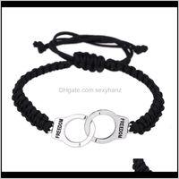Cuff Wholesale Handknitted Handcuffs Bracelets Braided Rope Dom Adjustable Weaving Hand Bracelet Unisex Retro Punk Charm Pendant Fmkyt Bbxw5