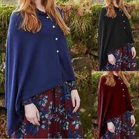 Women's Wool & Blends Ponchos Irregular Cloak Blouse Female Tops Fashion Cape Autumn Winter Women Coat Solid Colors Trendy Pull Femme Clothi