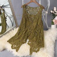 Women's Vests Summer Women Vest Froral Patch Vintage Crochet Beach Cover Up Top Asymmetric Open Stitch Kimono Cardigain