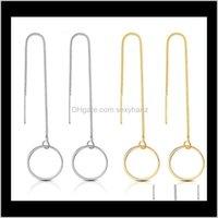 Chardelier Fashion Long Chair Circle Strip Gold Sier Boucles d'oreilles en cuivre Ligne Filmère Drop Drop Boucle d'oreille pour femmes bijoux en gros XL7 Nsve3