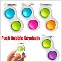Empurre Bubble Keychain Crianças Bebê Novo Fidget Imprimir Chaveiros Simples Dimple Toy Pop Brinquedos Chave Titular Anéis Saco Pingentes Stress Decompression Toy Presentes