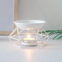 Candle Holders Metal Aromatic Oil Burner Geometric Ceramic Essential Tealight Holder Wax Melt Warmer Aroma Diffuser Lamp