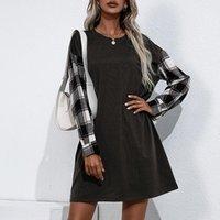 Casual Dresses Summer Dress Women Fashion Long Sleeve Round O Neck Plaid Print Loose Mini Sexy Clothing Beach