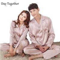 Весенние мужские шелковые пижамы наборы сатиновые сонные одежды сплошной цвет с длинными рукавами Пары Pajamas Loungewear Whire White Одежда для женщин