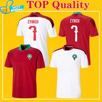 Maillot Maroc 2021 Marrocos Soccer Jersey Home Red Away White Hakimi Ziyech Alioui Munir Qualidade superior 21 22 Mens Maillots de pé