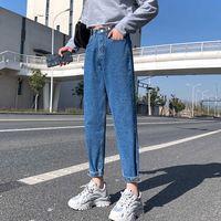 Pantalones vaqueros de mm gordo 2021 Primavera y verano Cintura alta de la cintura recta de nueve puntos pantalones de nabo de nueve puntos grandes