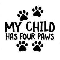 13.5 cm * 12.3 cm Çocuğum Dört Paws Araba Kamyon Vinil Çıkartması Sticker Köpek Kedi Pet Sevimli Araba Styling Araba Sticker Siyah / Şerit C8-0181