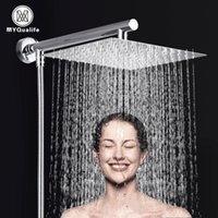 Conjuntos do chuveiro do banheiro MyQualife 10 polegadas Chuveiro ultrathin cabeça de chuveiro de aço inoxidável montada na parede