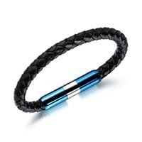 New trendy fashion jewelry designer stainless steel bullet sport vibrate braided leather bangle bracelet for men