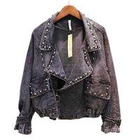 Kadın Ceketler Belki Kısa Kırpılmış Denim Mavi Ceket Düğmesi Uzun Kollu Jean Çentik Yaka Cep Rivet C0110