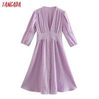 Casual Dresses Tangada 2021 Autumn Women Purple Elegant A-line Dress V Neck Three Quarter Sleeve Ladies Vestidos 2W91