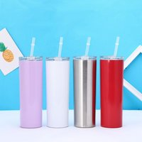 20oz 304 stainless steel skinny bottle mugs with straw pipette cold insulation automobile cup 9 colors 600ml FWA5449