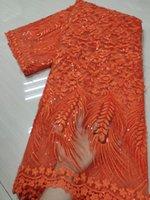 (5 место / ПК) Новейшие оранжевые африканские тюль кружева 3D вышитые французские чистые кружевные ткани с блестками для вечеринок платье 6 цветов flo001