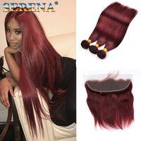 Бразильские бордовые девственные волосы с кружевной лобной замыканием с 3 пучками цвета 99J вина красные прямые волосы Weaves с 13x4 кружевной фронтальной