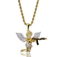 Hip Hop Necklaces Fashion Men Women Luxury Exquisite Grade Quality Zircon Paved Angel and Gun 18K Gold Plated Pendant Necklaces