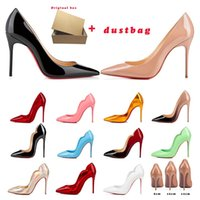 디자이너 하이힐 드레스 신발 그래서 케이트 뜨거운 병아리 붉은 바닥 womens Stiletto 8 10 12cm 정품 가죽 포인트 발가락 펌프 로퍼 고무 크기 35-44