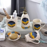 APRHOUSE 패션 노르딕 크리 에이 티브 이빨 컵 정장 현대 도자기 화장실 액세서리 화장실 세트 칫솔 홀더 비누 상자 스위트 F
