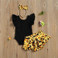 0- 24M Born Baby Girls 3- Piece Outfit Set Sleeve Romper Leopa...
