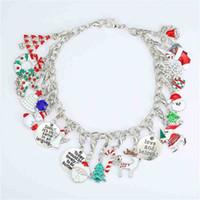 Chirstmas çocuk Boncuklu Bilezik Hediye Kutusu Seti DIY Moda Kızlar Takı Çocuklar Renkli Noel Baba Noel Ağacı El Dekorasyon Hediye Takım H8114BU