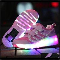 Risrich LED Теннис светящиеся светящиеся зажженные кроссовки на колесах Детские детские роликовые коньки обувь для мальчиков девушек 201202 VPM10 KZTZQ