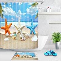 Морской пляж Душевая занавеска морская звезда раковина напечатана ванна экран полиэстер водонепроницаемый душевой занавес декор с крючками 1494 T2
