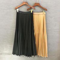 Skirts 2021 Spring And Autumn Pure Pleated Long Skirt For Women's Fashion Elastic High Waist Elegant Temperament Slim