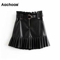 Skirts Aachoae Women Black PU Leather Skirt With Belt Fashion Streetwear Ruffles Pleated Mini A-line Party Club Sexy Short