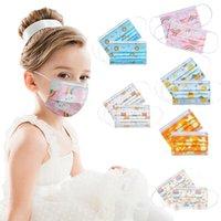 Máscaras infantiles Dispositivo de protección de niños y niñas Bebé Sección delgada Transpirable Troncillo Dibujos animados de dibujos animados Facenas de arco iris