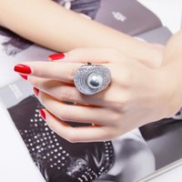 Cluster Rings Big Grey Pearl Ring For Women Ladies Luxury Jewelry Flower Lotus Leaf Fashion Crystal Large Gift Mom