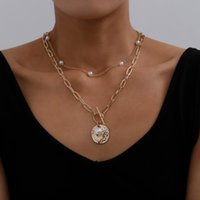 Pendant Necklaces Gothic Baroque Pearl Coin Choker Necklace For Women Wedding Punk Bead Lariat Gold Color Long Chain Jewelry Gift