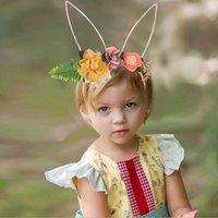 INS 우아한 소녀 머리 액세서리 모방 꽃 토끼 귀 디자인 액세서리 아이 쥬얼리 생일 파티 선물 머리 - 스틱