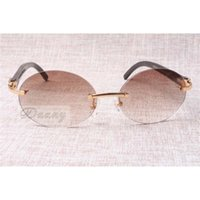 Lunettes de soleil rétro de mode circulaire haut de gamme 8100903-B Naturel Angle noir Les meilleures lunettes de qualité Taille: 58-18-140 mm