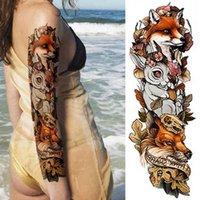 10pcs Trasferimento Tatuaggio Temporaneo Adesivo Art Fox Coniglio Peacock Skull Dragon Full Braccio Fiore Tatuaggio Body Big Grande Manica Falso
