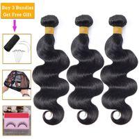 Human Hair Bulks Lanqi Body Wave Bundle Deals 100% 1  3 Bundles Non-remy Extensions Brazilian Weave Free To Brazil