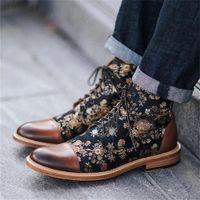 MRCAVE Men Boots Fashion Round Toe Botas Lace Up Pu Leather Shoes Zapatos De Hombre Winter Mens Booties Floral Print Ankle Boots