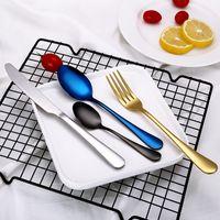 4 teile / satz Edelstahl Besteck Gold Schwarz Regenbogen Überzogene Restaurant Geschirr Messer Gabel Löffel Kit Flatware Set