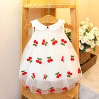 Girl's Dresses Baby Girls Summer Dress Children Cherry Embroidery Mesh Princess Birthday Party Cute Casual Loose Kids Clothes