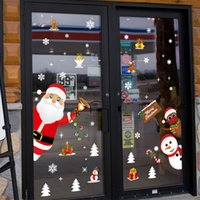 الإبداعية الكرتون عيد الميلاد ملصقات الحائط نافذة متجر الأبواب الزجاجية والنوافذ غرفة المعيشة خلفية الديكور القابلة للإزالة ملصقات حزب اللعب اللوازم