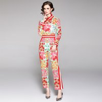 Retro Floral Party Pants Sets 2021 Women Runway Printed Button Up Shirt + Trousers Luxury Designer Resort Exquisite Spring Autumn Office Two Piece Lady Fashion Suit