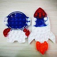 Foguete Dos Desenhos Animados Empreso Empurre Bubble Sensory Fidget Brinquedos Pioneer Fidget Anti Stress Silicone Crianças Puzzle Decompression Toy Bolhas De Finger Bolhas Pressione Board G67EIF