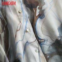 Tangada 가을 여성 우아한 팬티 프린트 셔츠 긴 소매 우아한 사무실 숙녀 작업 착용 블라우스 4C28 201202