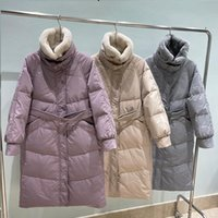 Women's Down & Parkas Ailegogo Winter Women Thick Warm Loose Real Fur Collar 90% White Duck Long Coat Casual Female Snow Parka With Belt